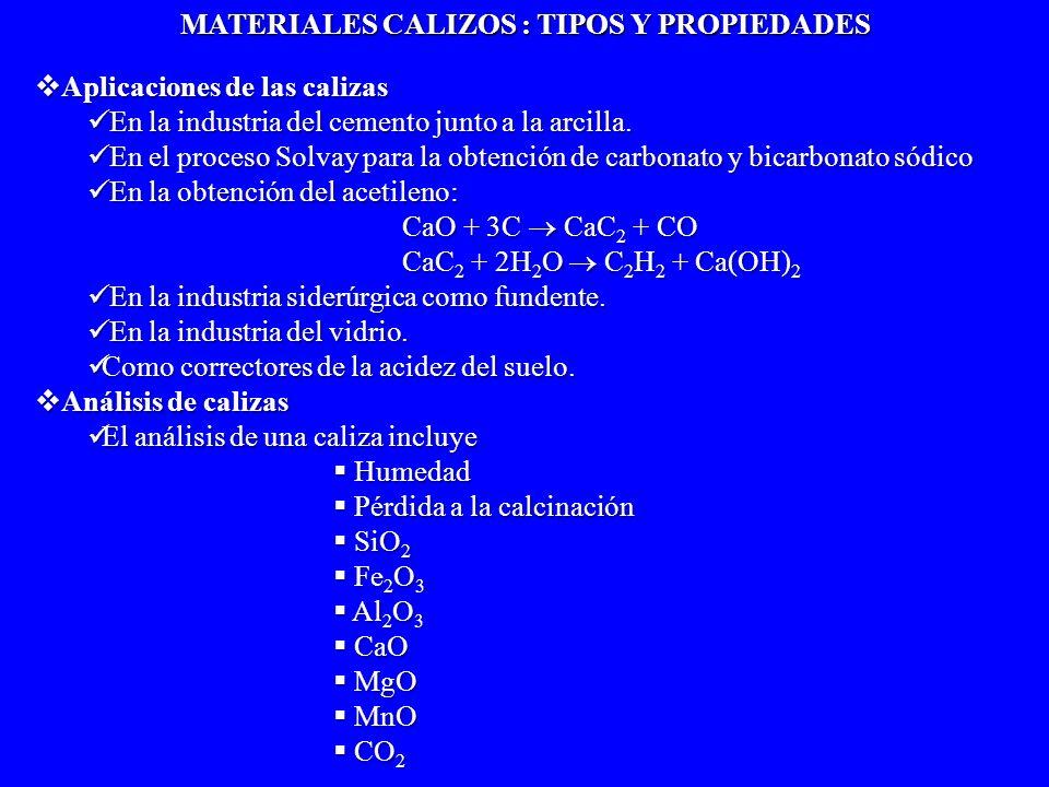 MATERIALES CALIZOS : TIPOS Y PROPIEDADES