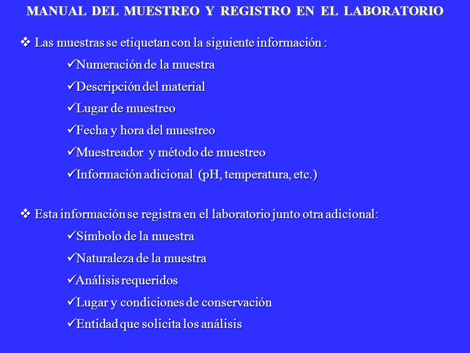 MANUAL DEL MUESTREO Y REGISTRO EN EL LABORATORIO