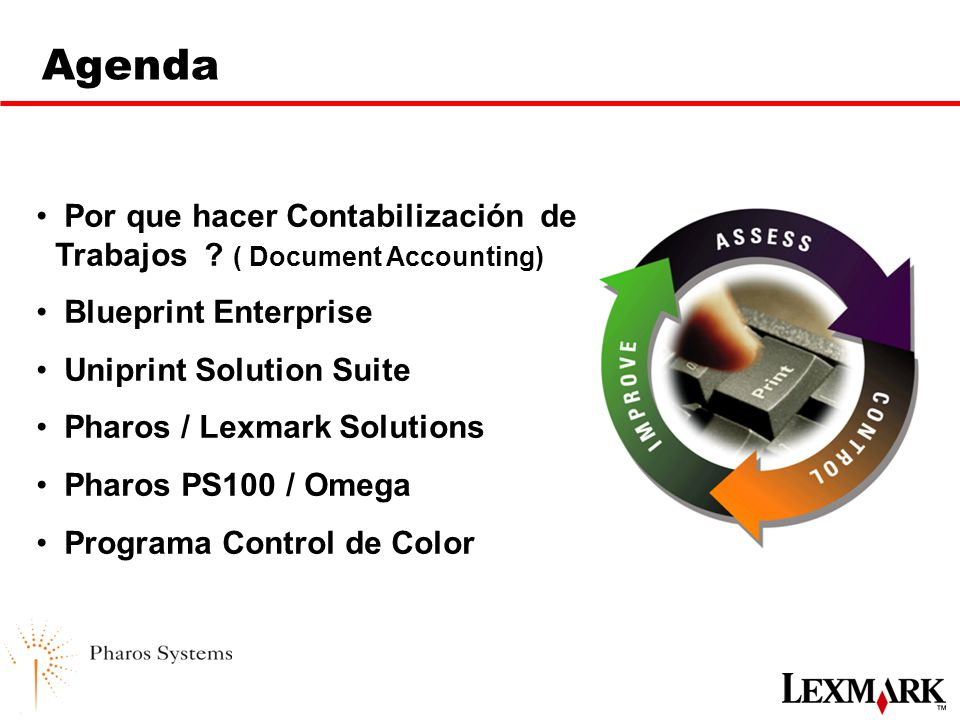 Alianza lexmark pharos systems ppt descargar agenda por que hacer contabilizacin de trabajos document accounting blueprint enterprise uniprint solution malvernweather Image collections