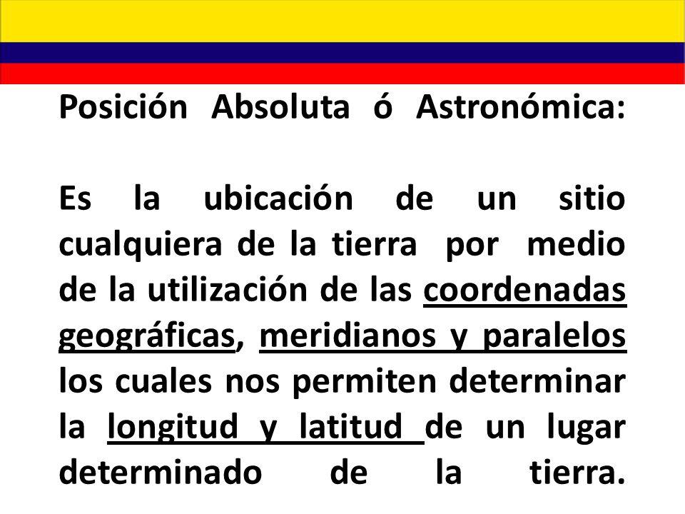 Posición Absoluta ó Astronómica: Es la ubicación de un sitio cualquiera de la tierra por medio de la utilización de las coordenadas geográficas, meridianos y paralelos los cuales nos permiten determinar la longitud y latitud de un lugar determinado de la tierra.