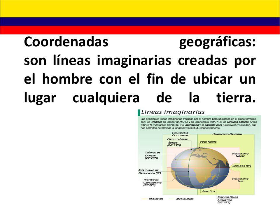 Coordenadas geográficas: son líneas imaginarias creadas por el hombre con el fin de ubicar un lugar cualquiera de la tierra.