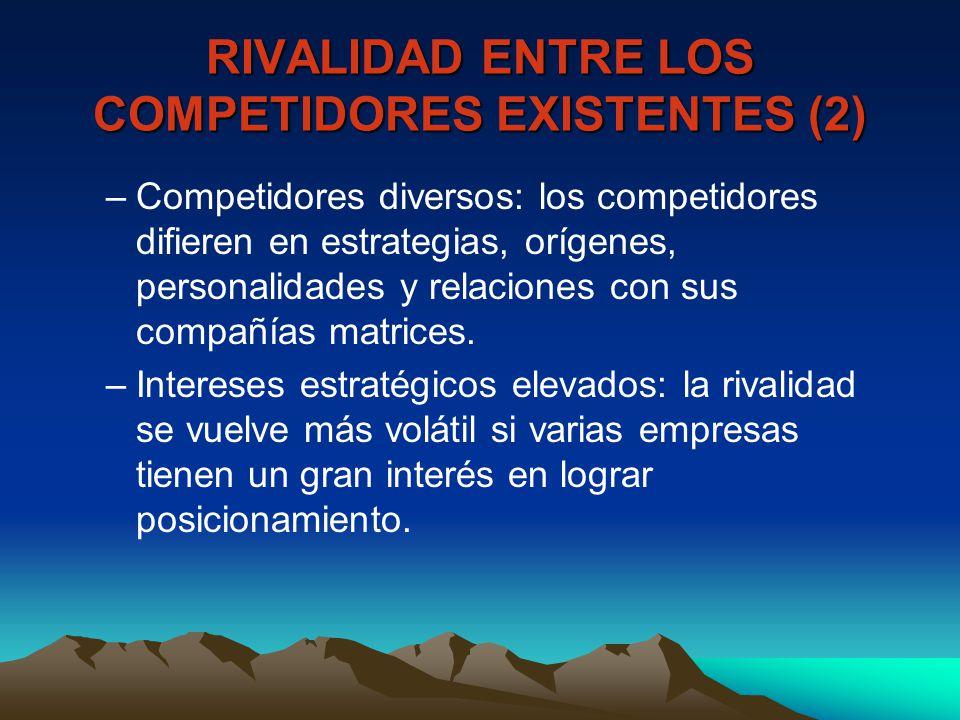 RIVALIDAD ENTRE LOS COMPETIDORES EXISTENTES (2)