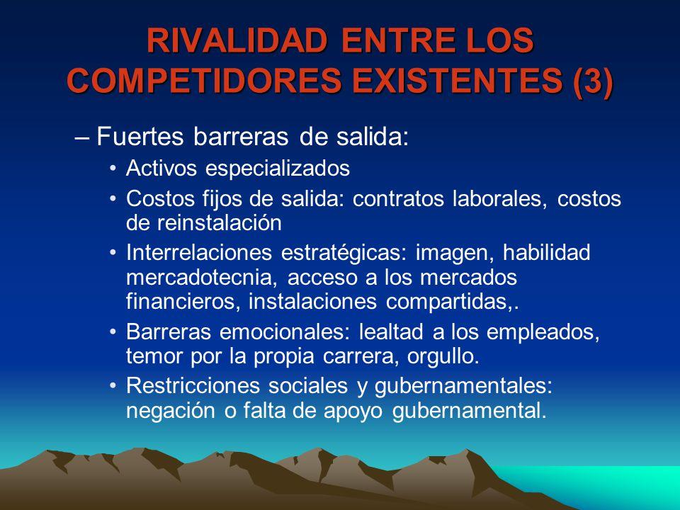 RIVALIDAD ENTRE LOS COMPETIDORES EXISTENTES (3)