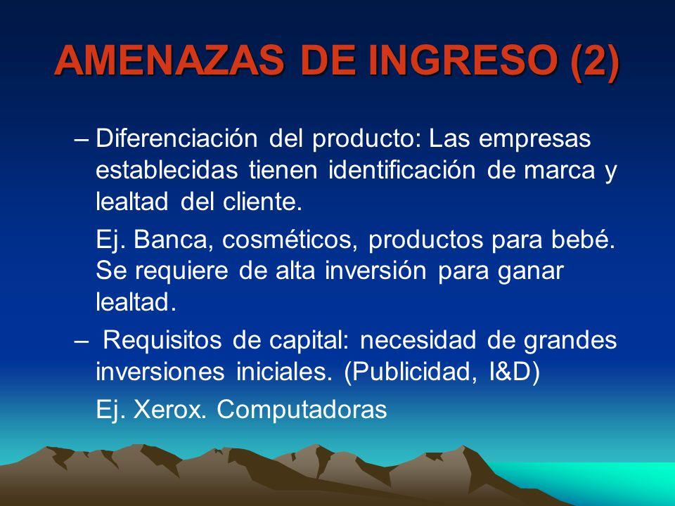 AMENAZAS DE INGRESO (2) Diferenciación del producto: Las empresas establecidas tienen identificación de marca y lealtad del cliente.