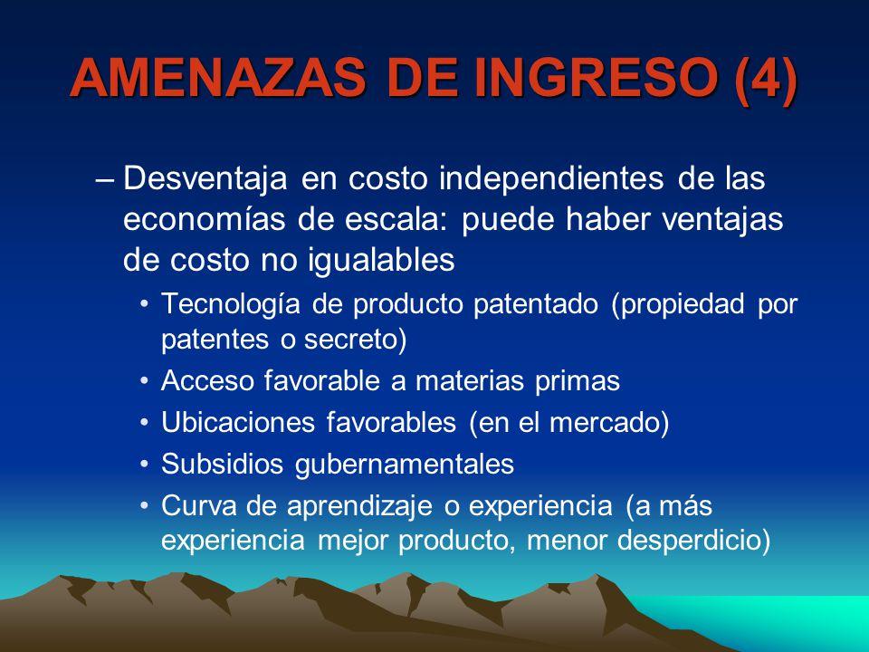 AMENAZAS DE INGRESO (4) Desventaja en costo independientes de las economías de escala: puede haber ventajas de costo no igualables.