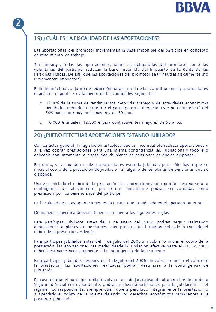 2 19) ¿CUÁL ES LA FISCALIDAD DE LAS APORTACIONES