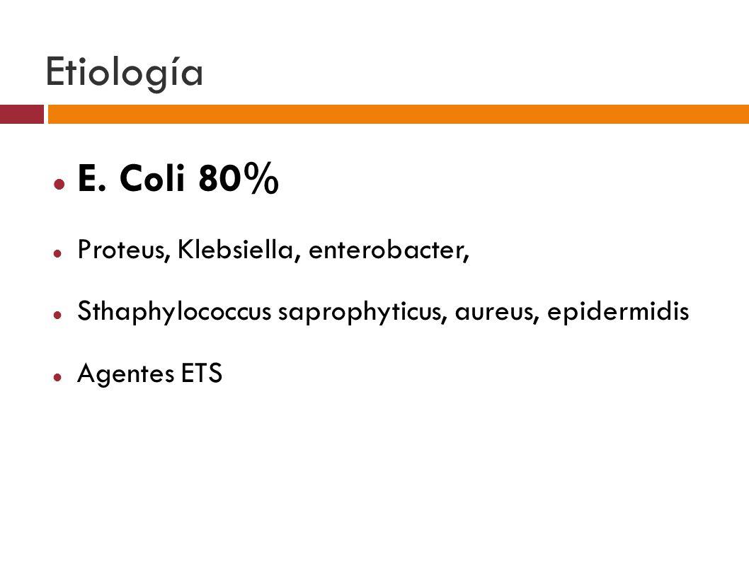 Etiología E. Coli 80% Proteus, Klebsiella, enterobacter,