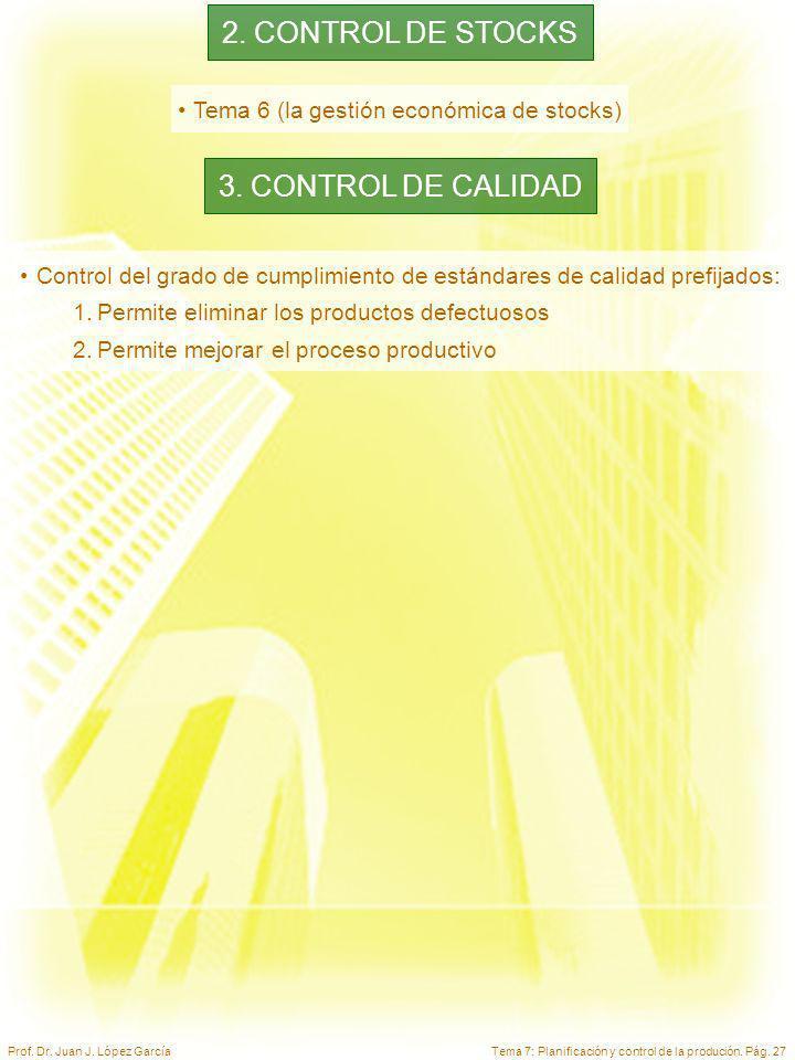 2. CONTROL DE STOCKS 3. CONTROL DE CALIDAD