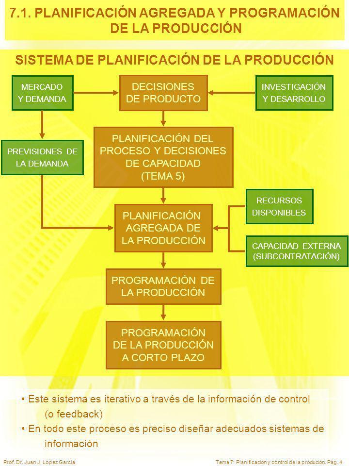 7.1. PLANIFICACIÓN AGREGADA Y PROGRAMACIÓN