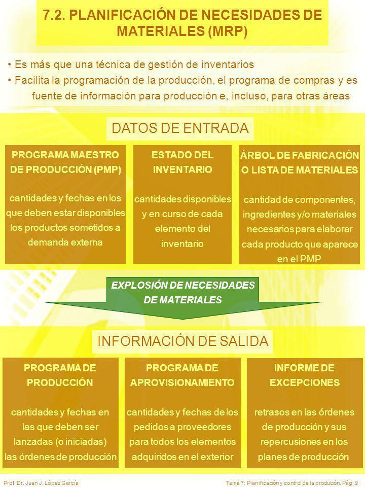 7.2. PLANIFICACIÓN DE NECESIDADES DE EXPLOSIÓN DE NECESIDADES