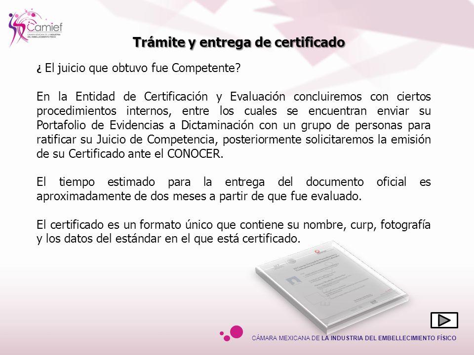 Trámite y entrega de certificado