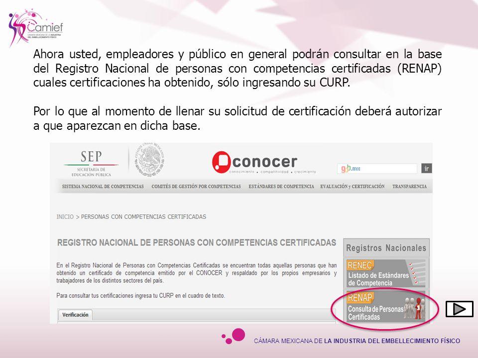 Ahora usted, empleadores y público en general podrán consultar en la base del Registro Nacional de personas con competencias certificadas (RENAP) cuales certificaciones ha obtenido, sólo ingresando su CURP.
