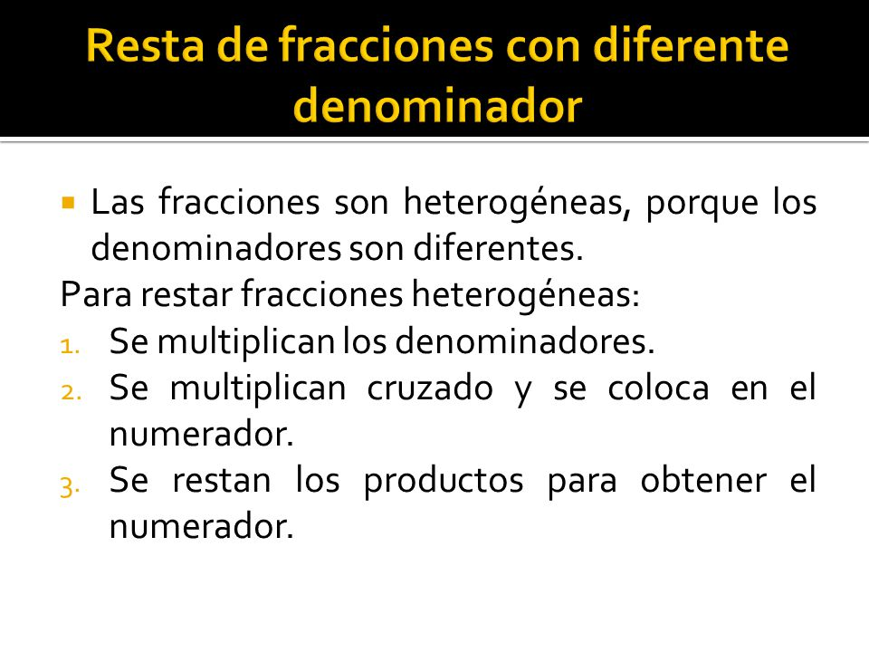 Resta de fracciones con diferente denominador