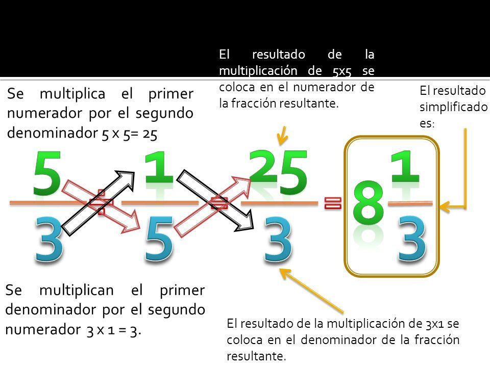 El resultado de la multiplicación de 5x5 se coloca en el numerador de la fracción resultante.
