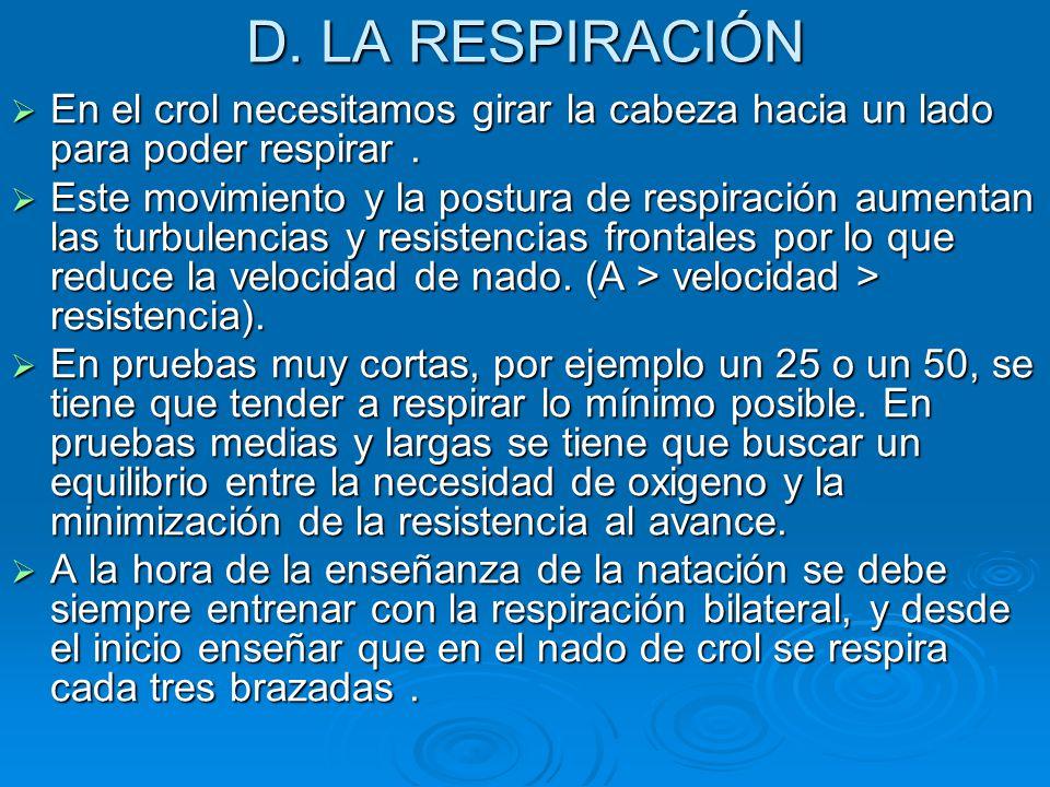 D. LA RESPIRACIÓN En el crol necesitamos girar la cabeza hacia un lado para poder respirar .