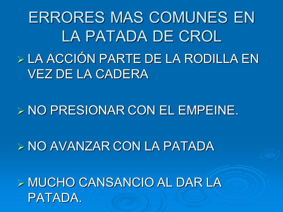 ERRORES MAS COMUNES EN LA PATADA DE CROL