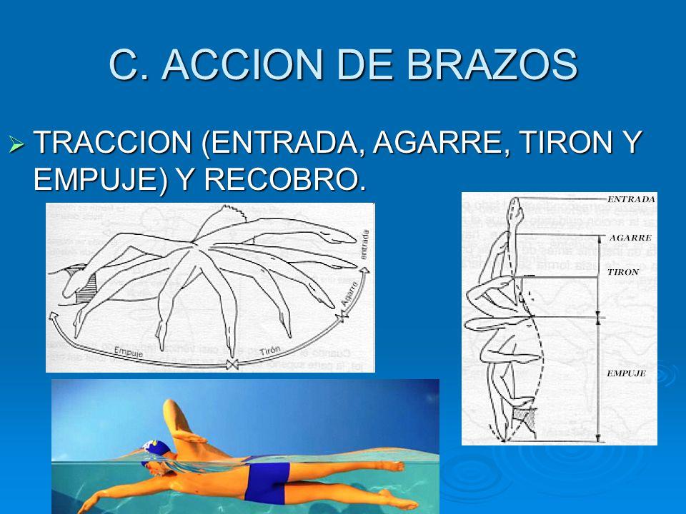 C. ACCION DE BRAZOS TRACCION (ENTRADA, AGARRE, TIRON Y EMPUJE) Y RECOBRO.