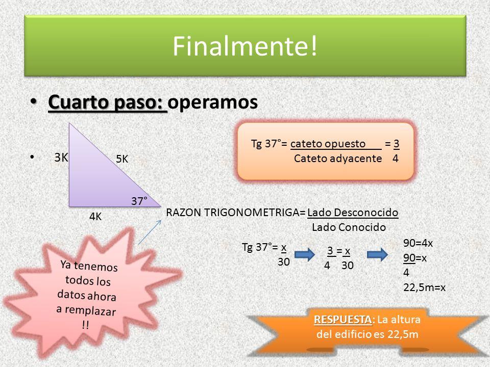Finalmente! Cuarto paso: operamos 3K Tg 37°= cateto opuesto = 3