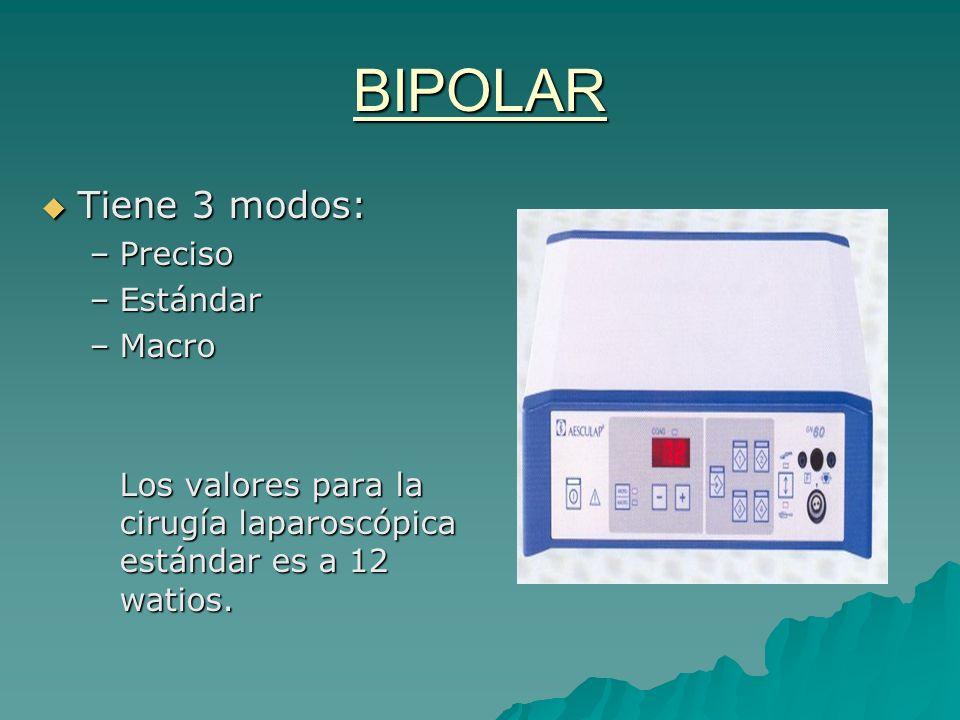 BIPOLAR Tiene 3 modos: Preciso Estándar Macro