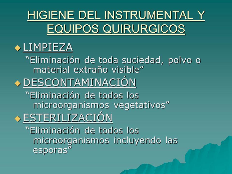 HIGIENE DEL INSTRUMENTAL Y EQUIPOS QUIRURGICOS