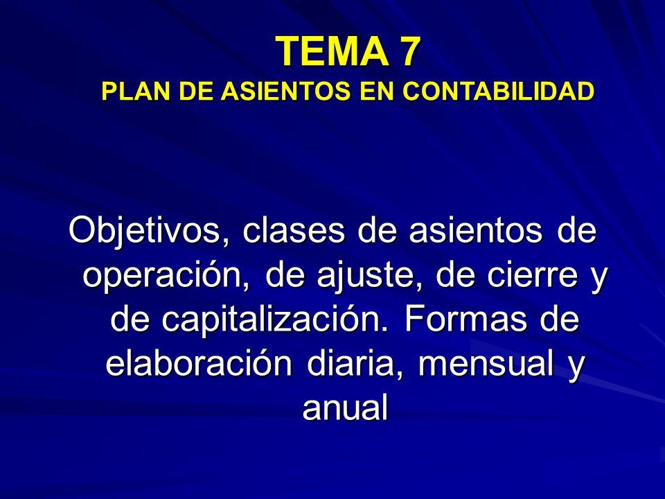 TEMA 7 PLAN DE ASIENTOS EN CONTABILIDAD