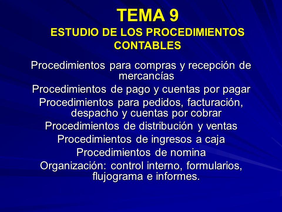 TEMA 9 ESTUDIO DE LOS PROCEDIMIENTOS CONTABLES