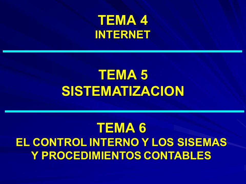TEMA 6 EL CONTROL INTERNO Y LOS SISEMAS Y PROCEDIMIENTOS CONTABLES