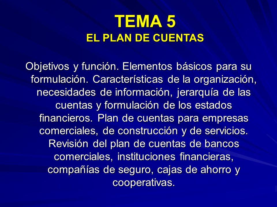 TEMA 5 EL PLAN DE CUENTAS