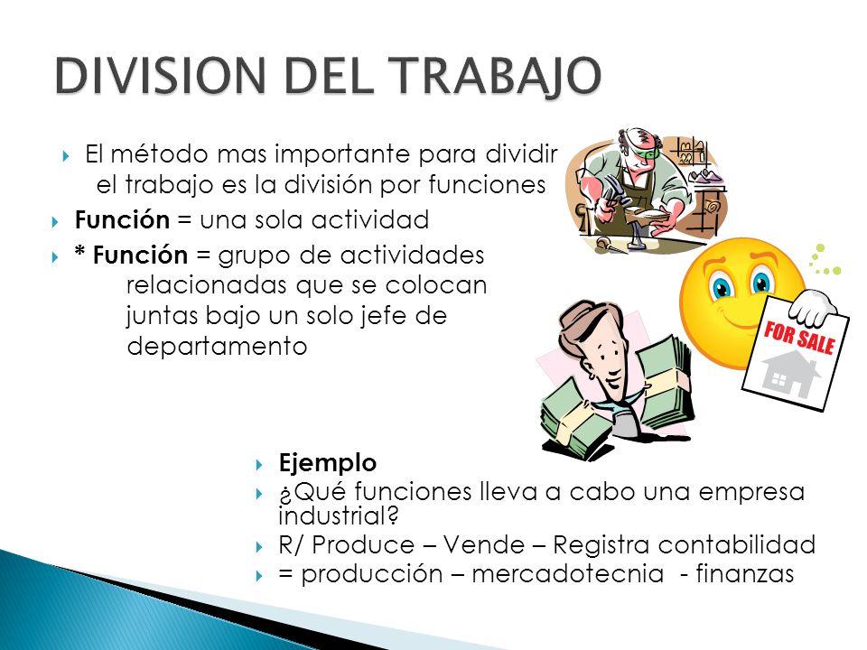 DIVISION DEL TRABAJO El método mas importante para dividir el trabajo es la división por funciones.