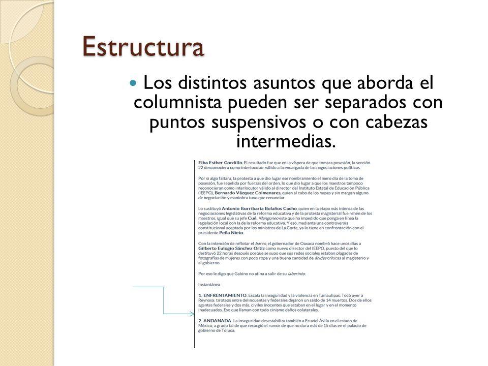 Estructura Los distintos asuntos que aborda el columnista pueden ser separados con puntos suspensivos o con cabezas intermedias.