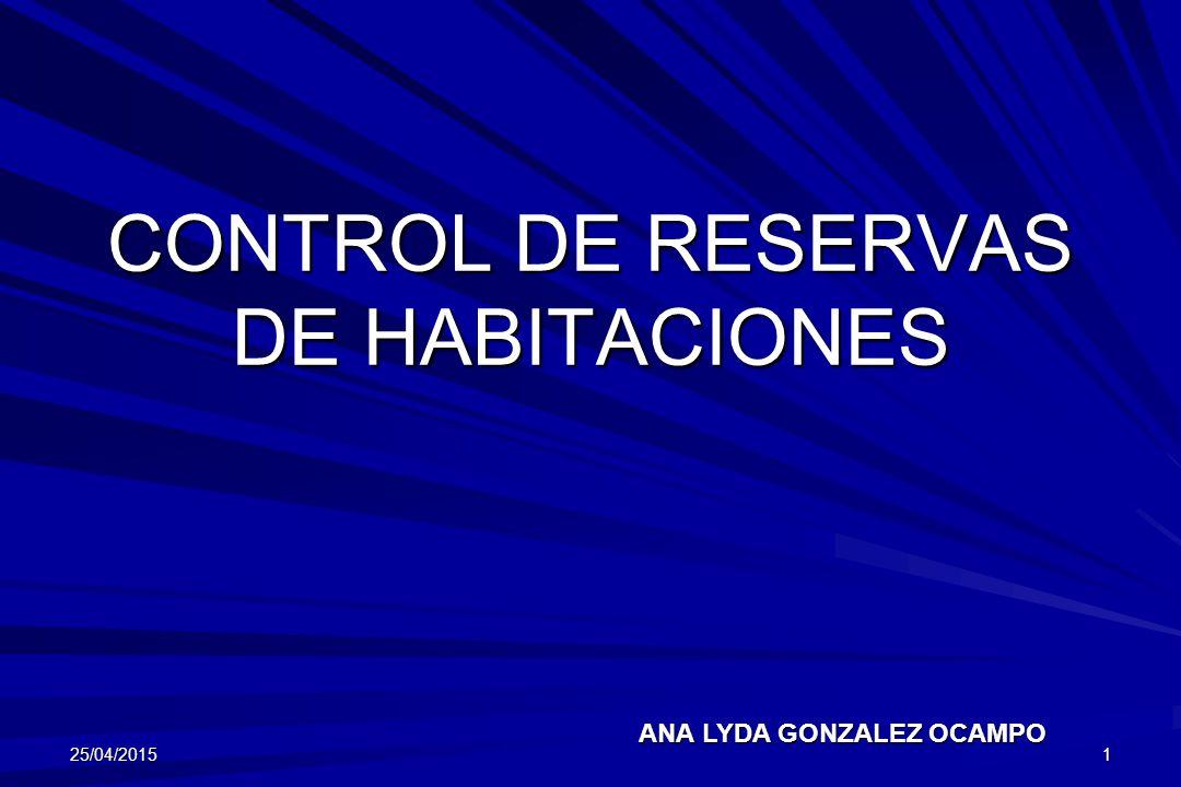 CONTROL DE RESERVAS DE HABITACIONES