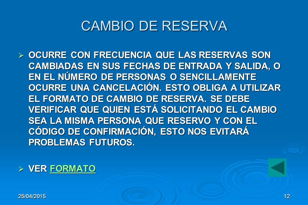 CAMBIO DE RESERVA