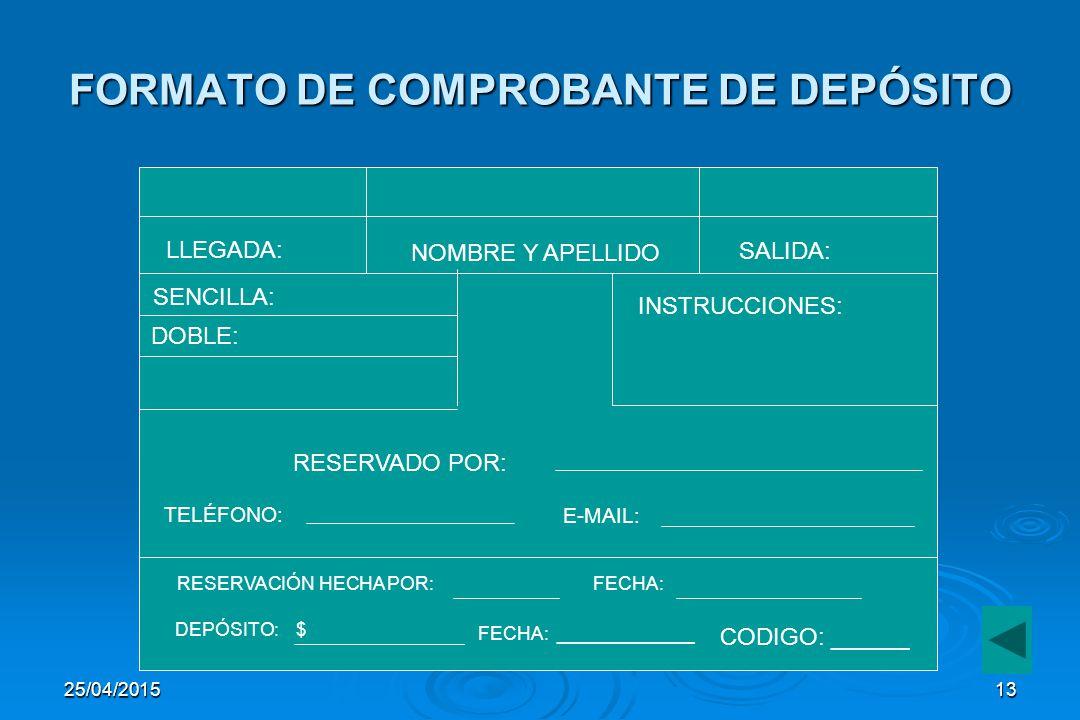 FORMATO DE COMPROBANTE DE DEPÓSITO