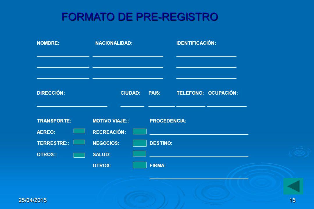 FORMATO DE PRE-REGISTRO