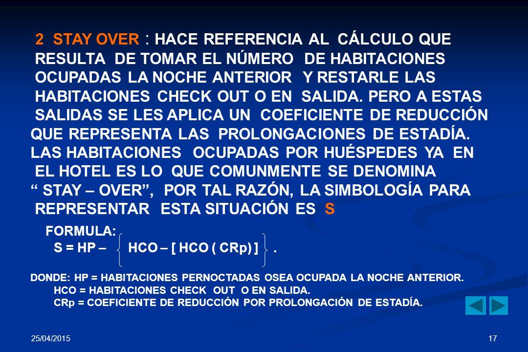 2 STAY OVER : HACE REFERENCIA AL CÁLCULO QUE