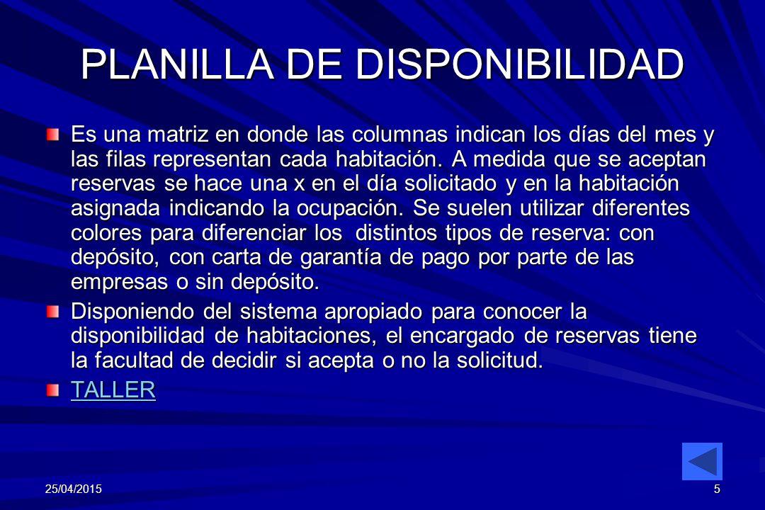 PLANILLA DE DISPONIBILIDAD