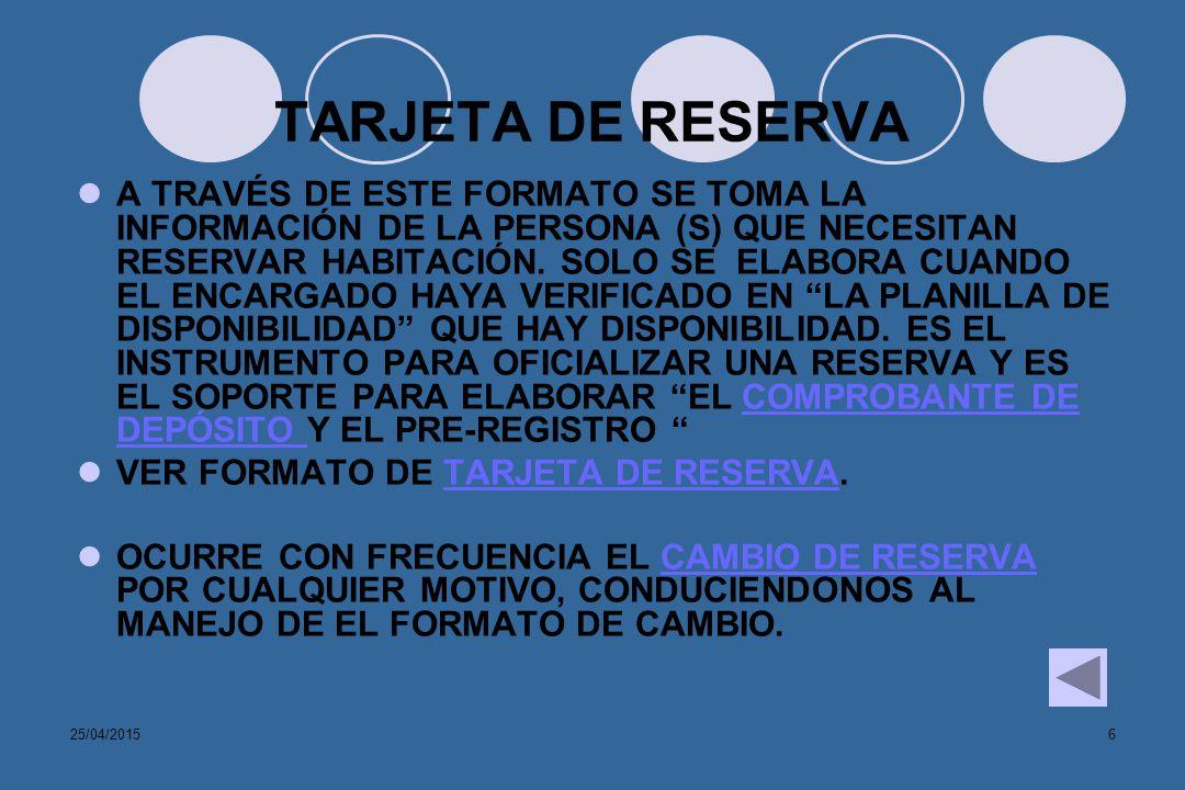 TARJETA DE RESERVA