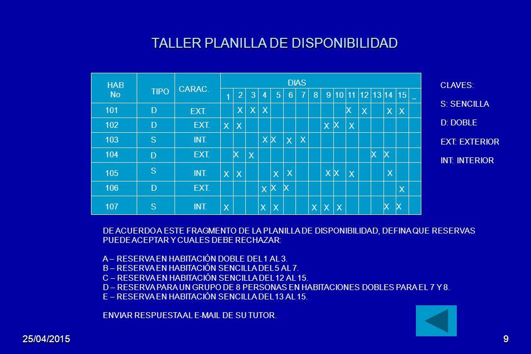TALLER PLANILLA DE DISPONIBILIDAD