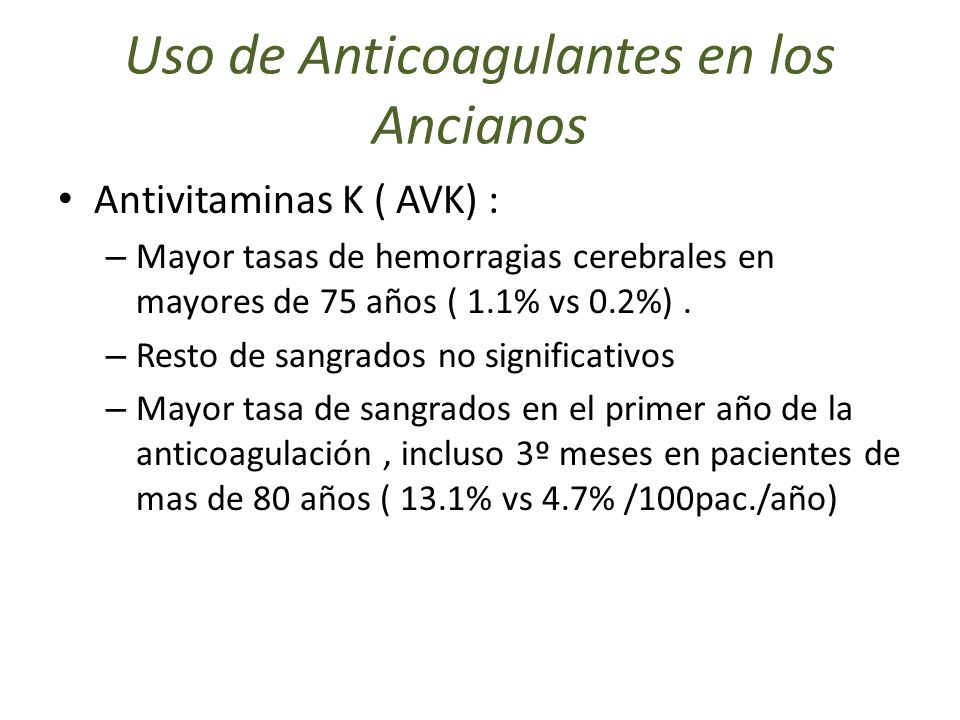Uso de Anticoagulantes en los Ancianos