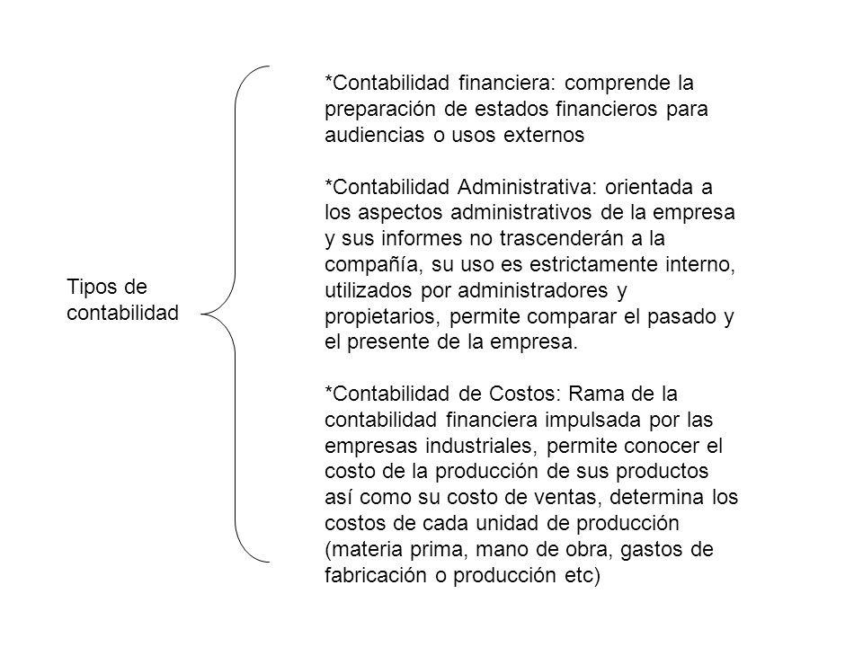 *Contabilidad financiera: comprende la preparación de estados financieros para audiencias o usos externos