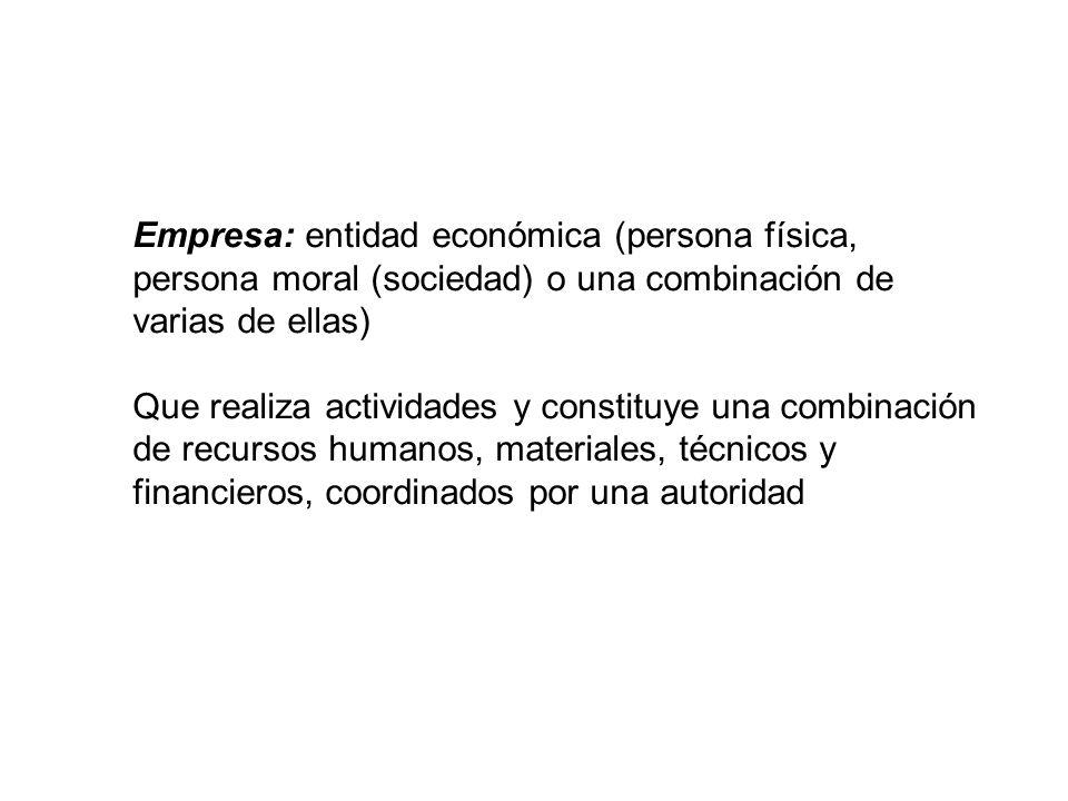 Empresa: entidad económica (persona física, persona moral (sociedad) o una combinación de varias de ellas)