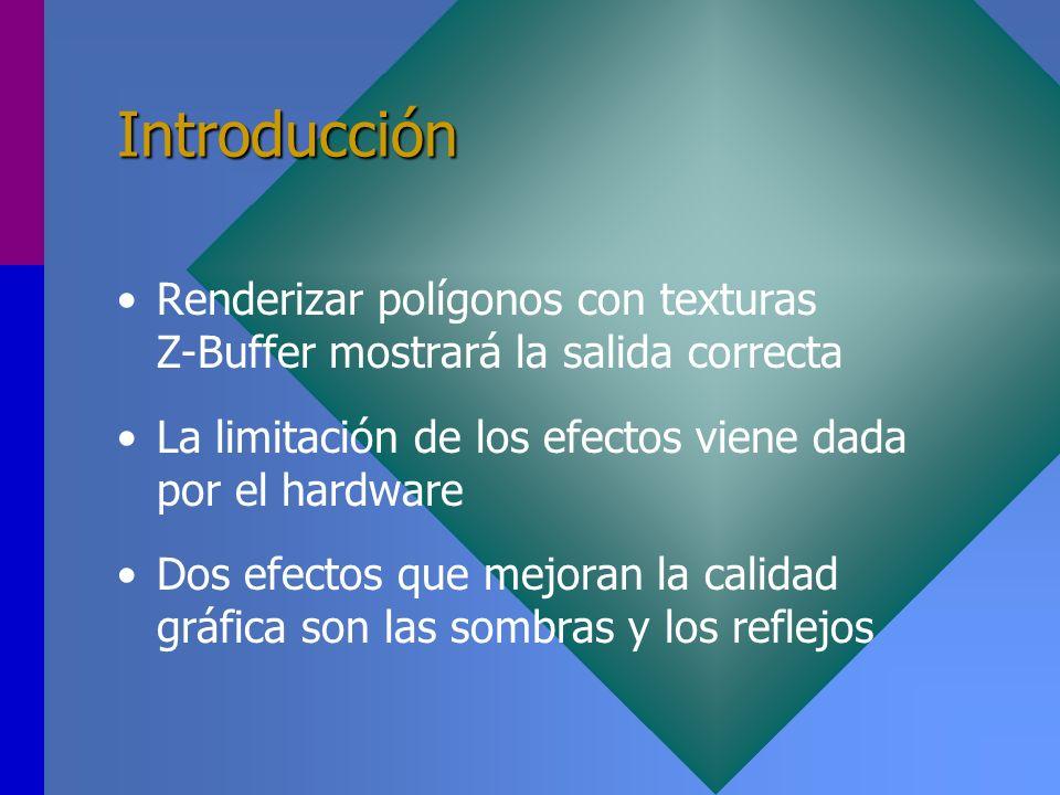 Introducción Renderizar polígonos con texturas Z-Buffer mostrará la salida correcta. La limitación de los efectos viene dada por el hardware.