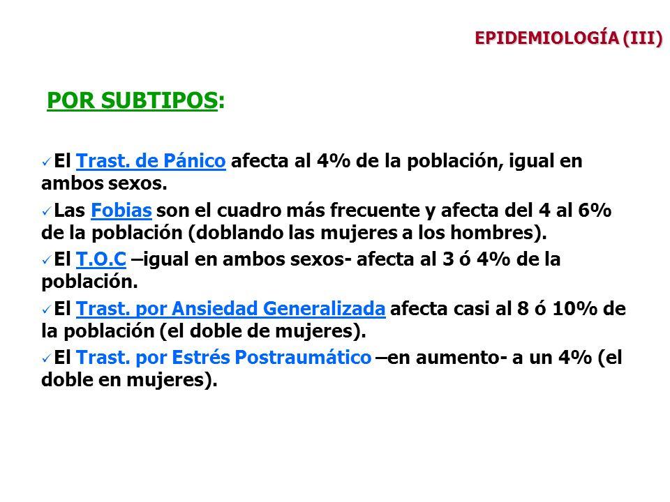 EPIDEMIOLOGÍA (III) POR SUBTIPOS: