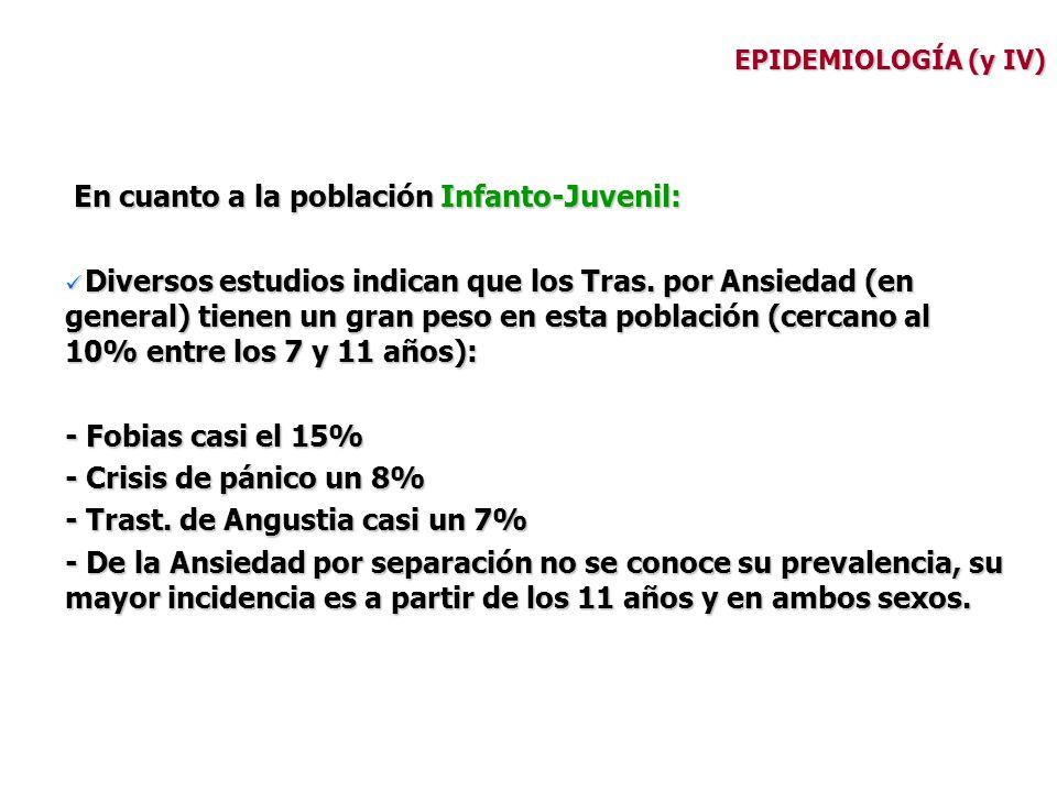 EPIDEMIOLOGÍA (y IV) En cuanto a la población Infanto-Juvenil: