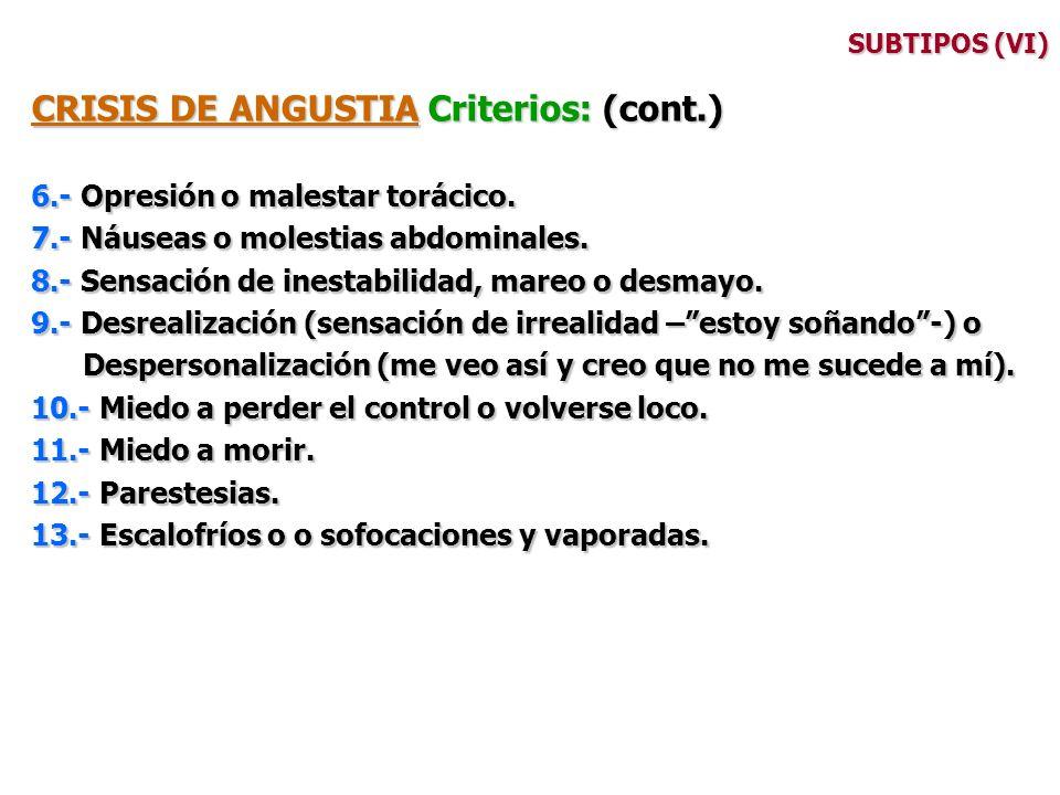 CRISIS DE ANGUSTIA Criterios: (cont.)