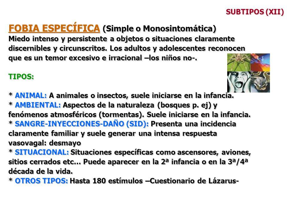 FOBIA ESPECÍFICA (Simple o Monosintomática)