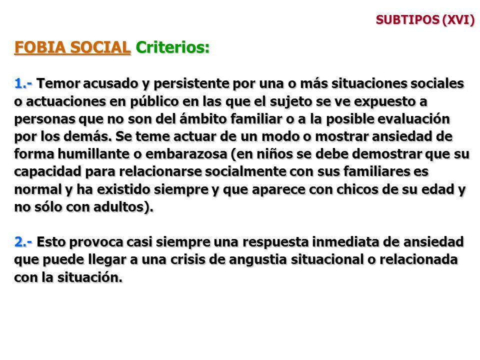 FOBIA SOCIAL Criterios: