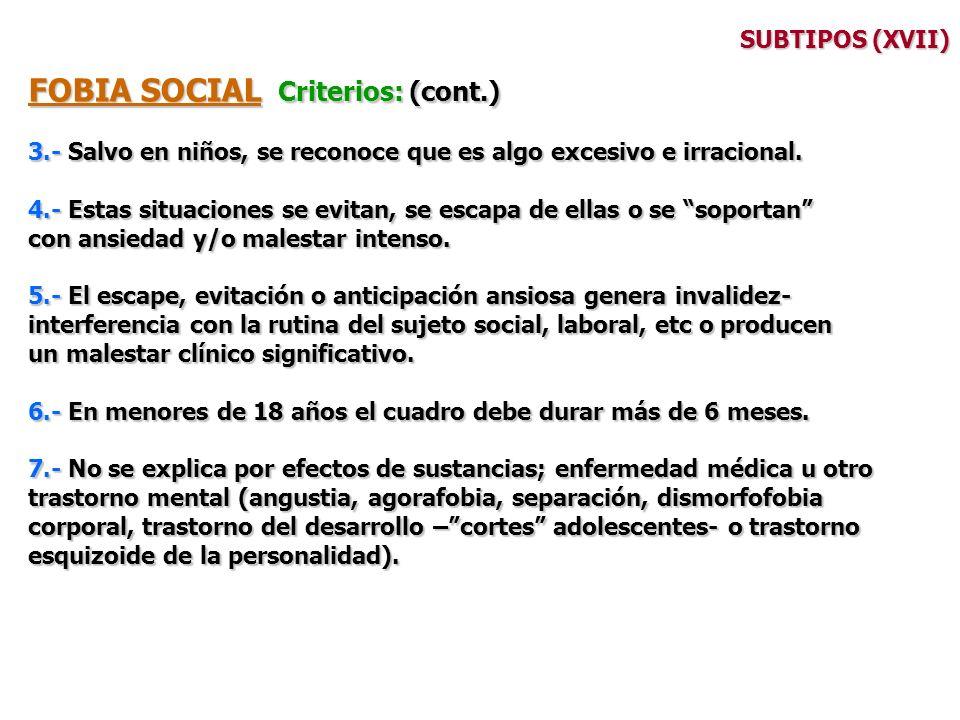 FOBIA SOCIAL Criterios: (cont.)