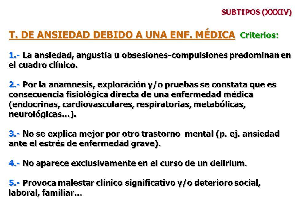 T. DE ANSIEDAD DEBIDO A UNA ENF. MÉDICA Criterios: