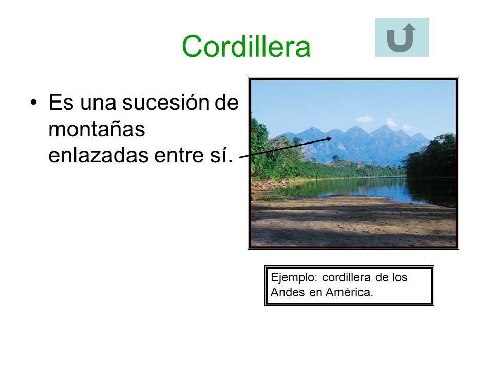 Cordillera Es una sucesión de montañas enlazadas entre sí.